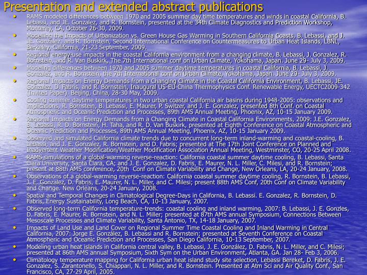 Presentation and extended abstract publications