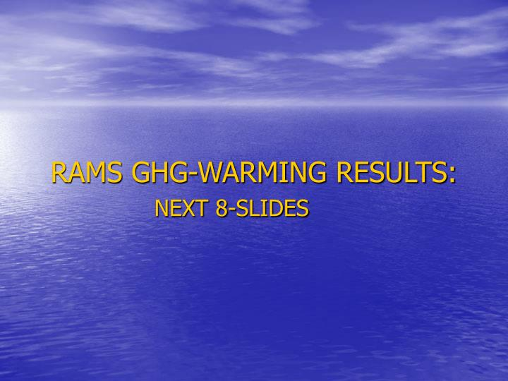 RAMS GHG-WARMING RESULTS: