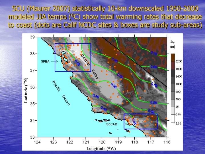 SCU (Maurer 2007) statistically 10-km downscaled 1950-2000 modeled JJA temps (