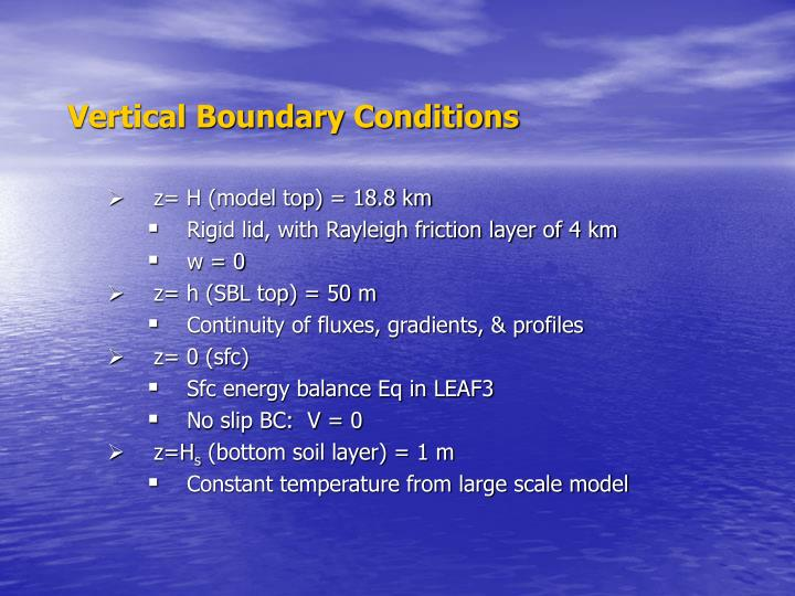 Vertical Boundary Conditions