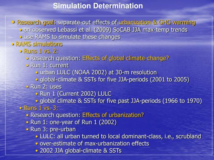 Simulation Determination
