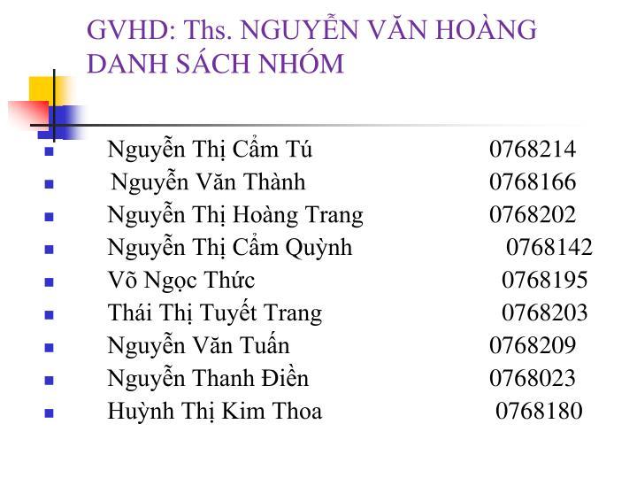 GVHD: Ths. NGUYỄN VĂN HOÀNG