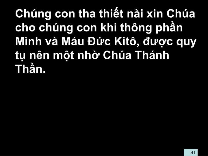 Chng con tha thit ni xin Cha cho chng con khi thng phn Mnh v Mu c Kit, c quy t nn mt nh Cha Thnh Thn.
