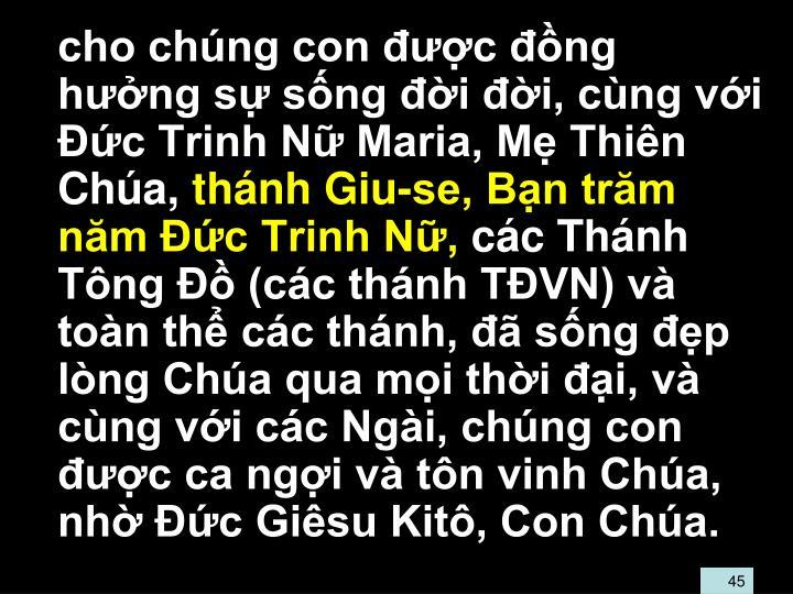 cho chng con c ng hng s sng i i, cng vi c Trinh N Maria, M Thin Cha,