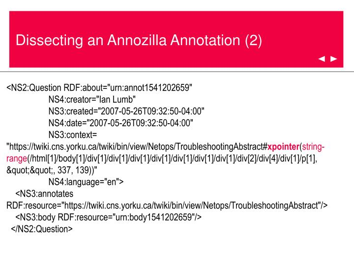 Dissecting an Annozilla Annotation (2)