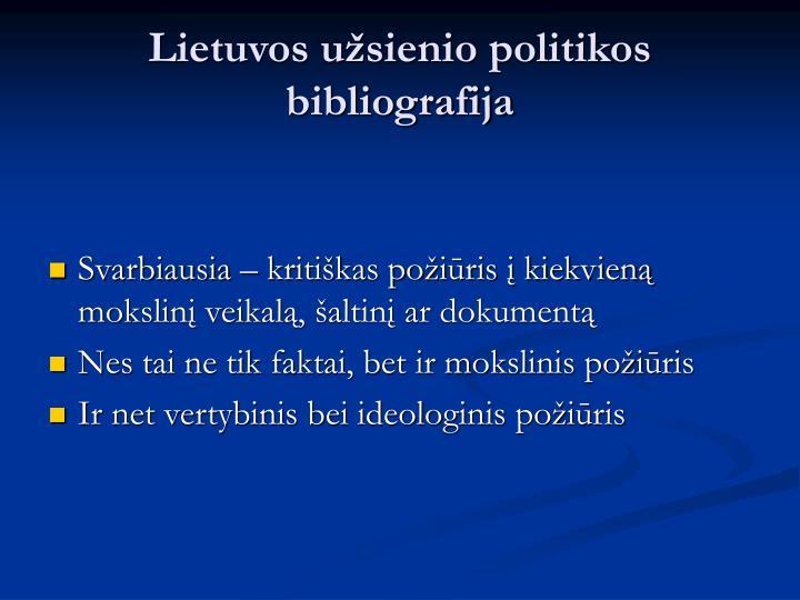Lietuvos užsienio politikos bibliografija