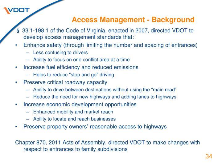 Access Management - Background