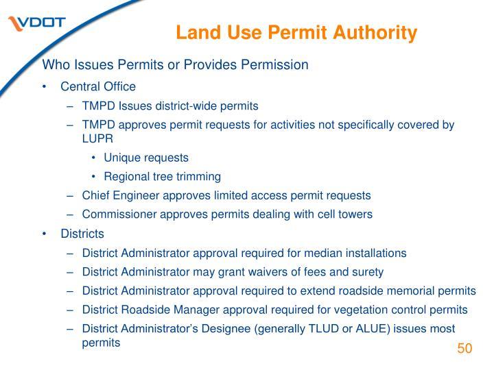 Land Use Permit Authority