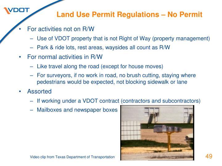 Land Use Permit Regulations – No Permit