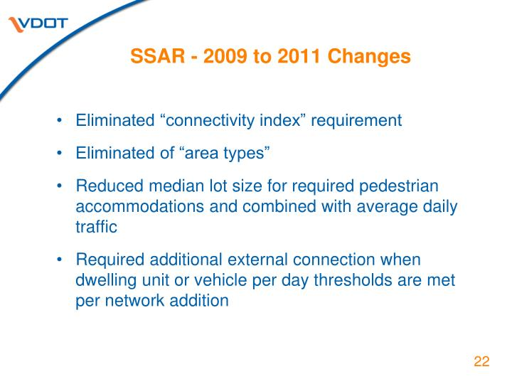 SSAR - 2009 to 2011 Changes
