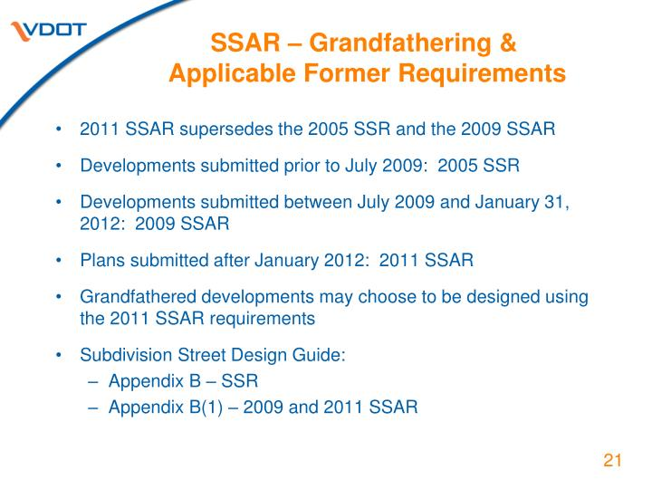 SSAR – Grandfathering &