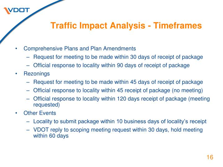 Traffic Impact Analysis - Timeframes
