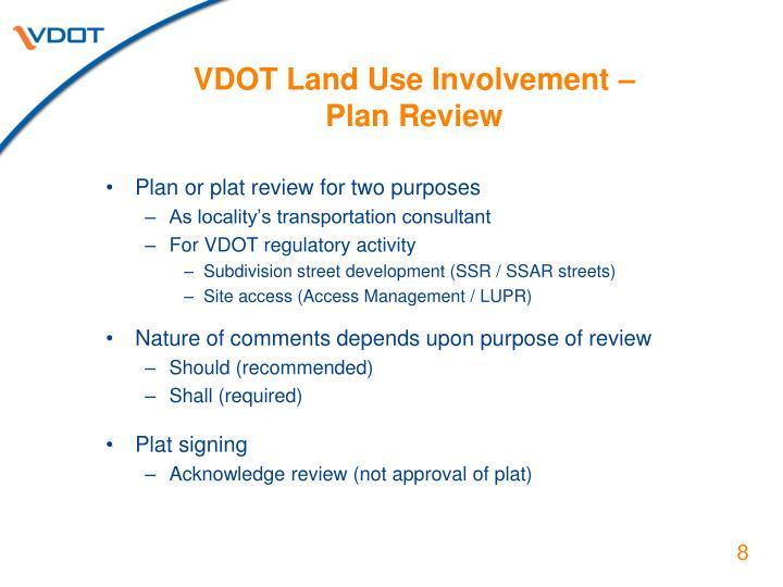 VDOT Land Use Involvement –