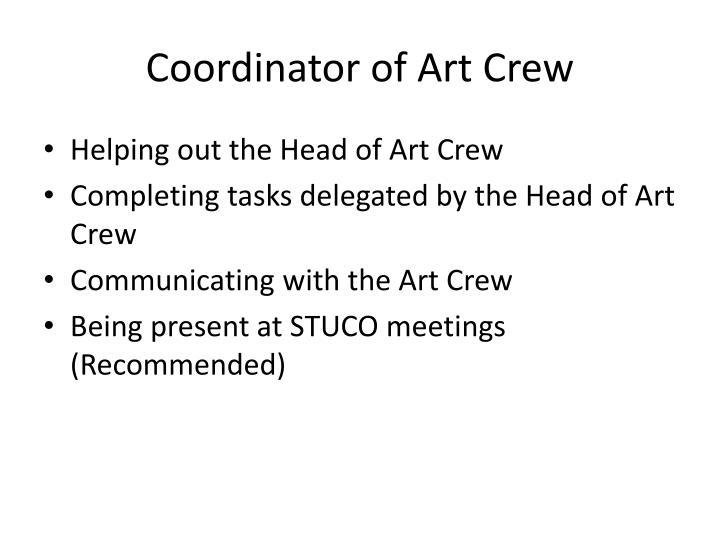 Coordinator of Art Crew