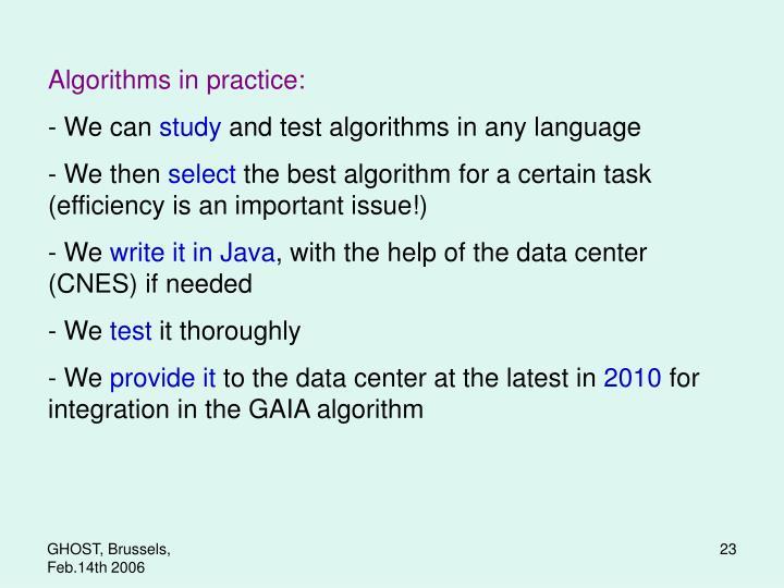 Algorithms in practice:
