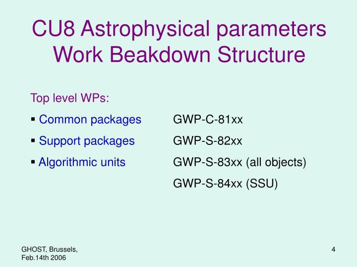 CU8 Astrophysical parameters
