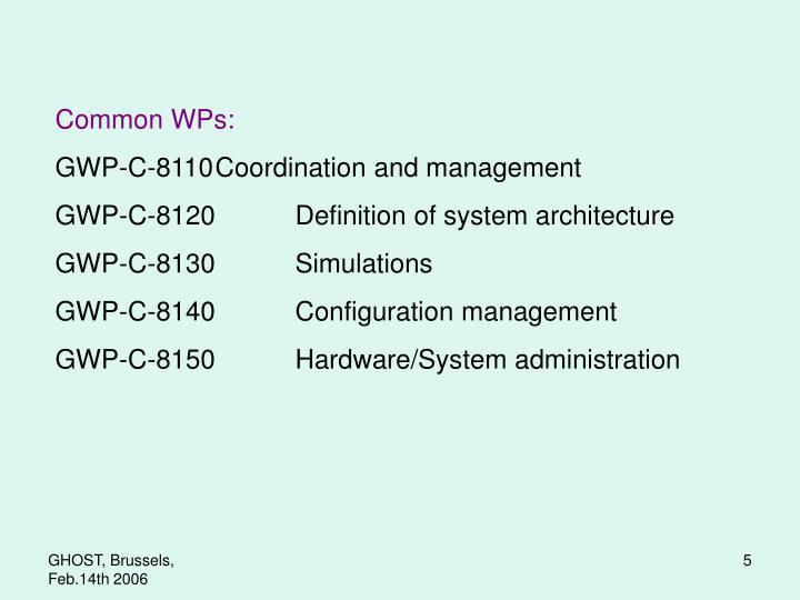 Common WPs: