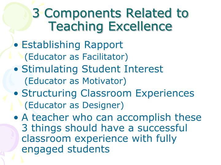 3 Components Related to Teaching Excellence