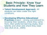 basic principle know your students and how they learn