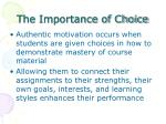 the importance of choice