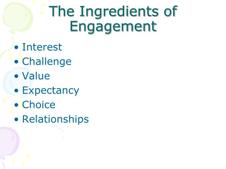 The Ingredients of Engagement