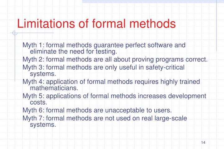 Limitations of formal methods