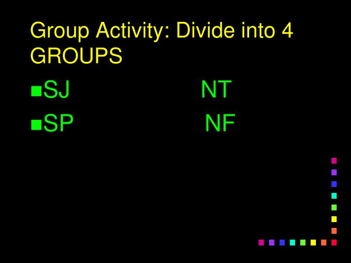 Group Activity: Divide into 4 GROUPS