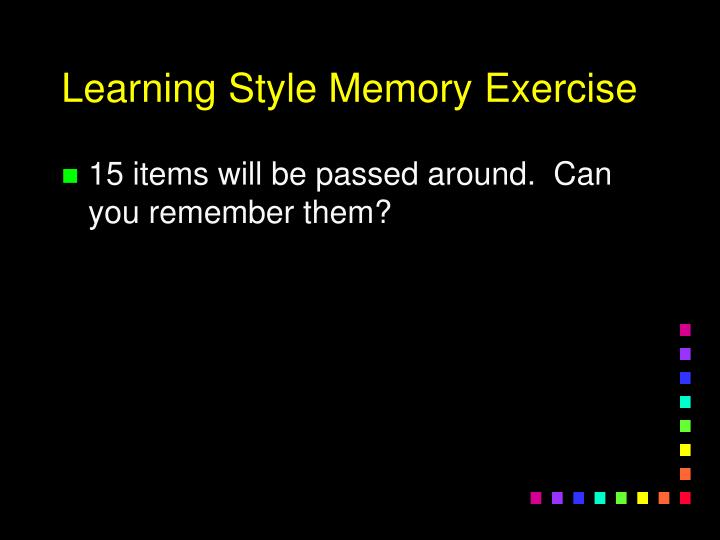 Learning Style Memory Exercise