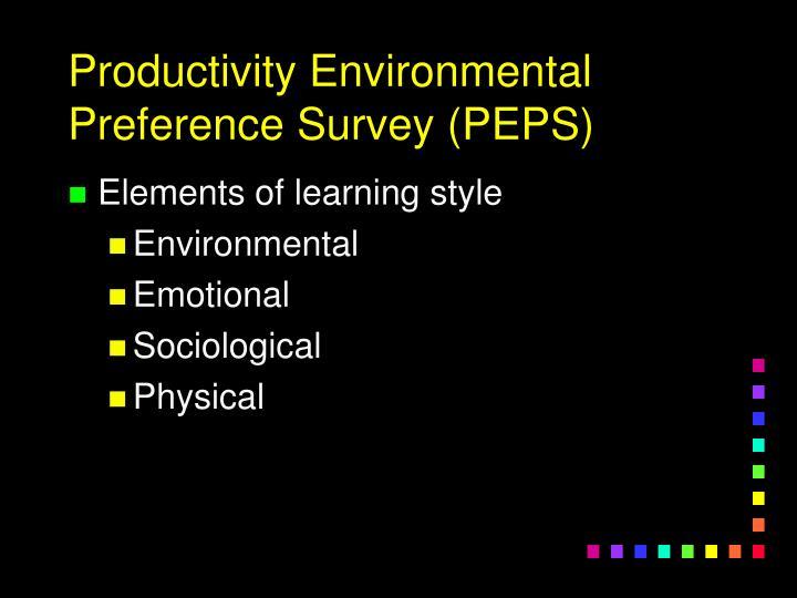 Productivity Environmental Preference Survey (PEPS)