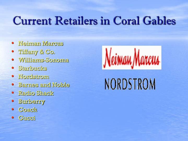 Current Retailers in Coral Gables