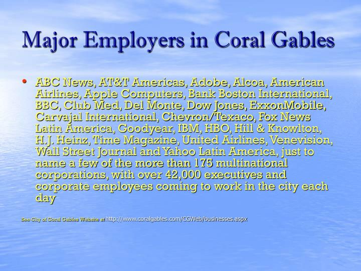 Major Employers in Coral Gables