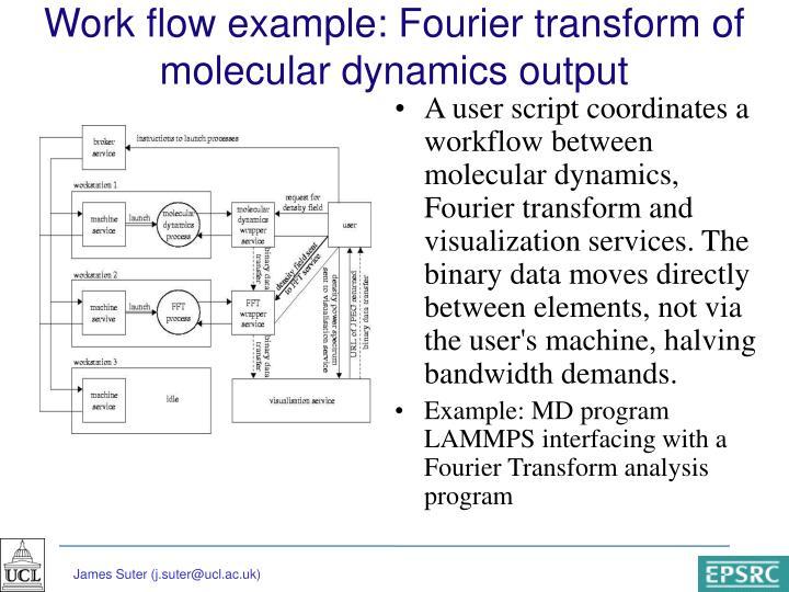 Work flow example: Fourier transform of molecular dynamics output