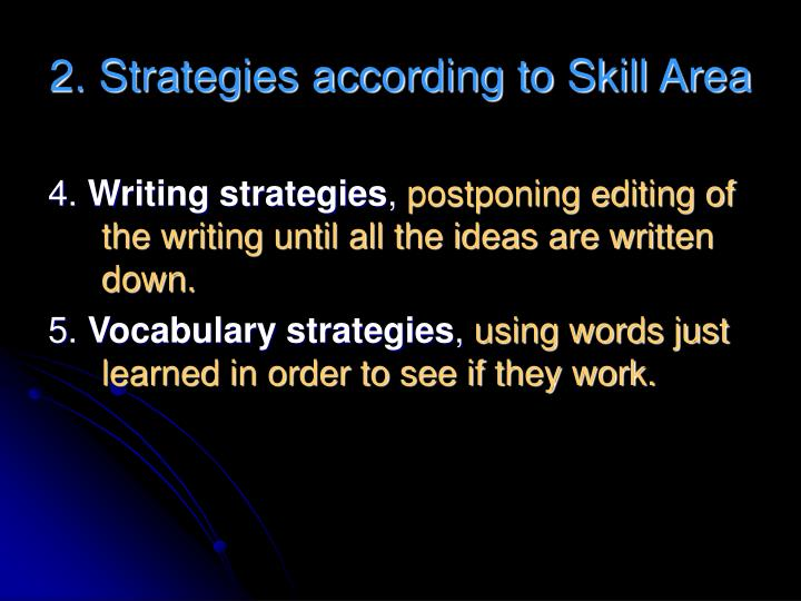 2. Strategies according to Skill Area