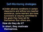 self monitoring strategies