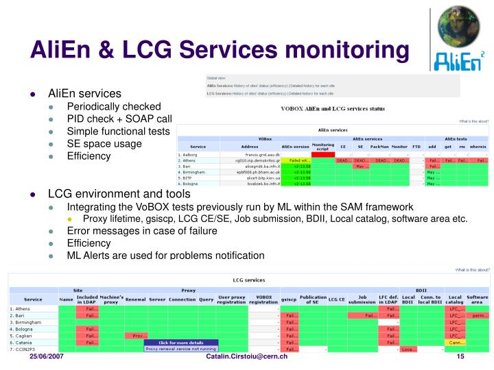 AliEn & LCG Services monitoring