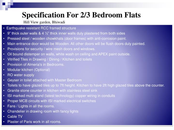 Specification For 2/3 Bedroom Flats
