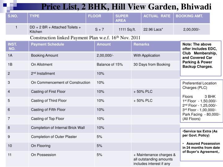 Price List, 2 BHK, Hill View Garden, Bhiwadi