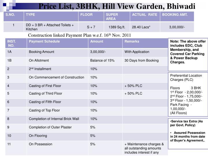 Price List, 3BHK, Hill View Garden, Bhiwadi