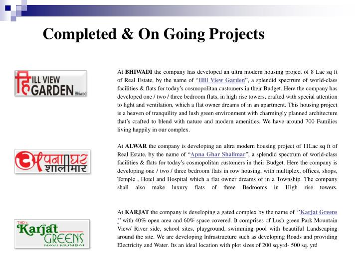 Completed & On Going Projects