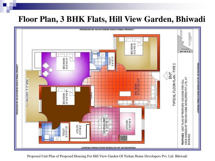 Floor Plan, 3 BHK Flats, Hill View Garden, Bhiwadi