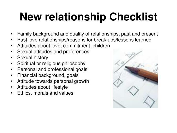 New relationship Checklist