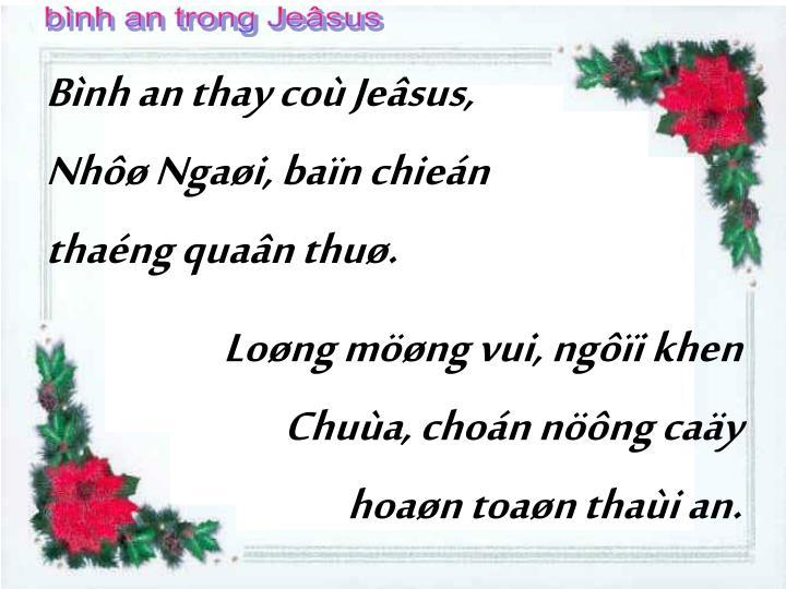 bình an trong Jeâsus