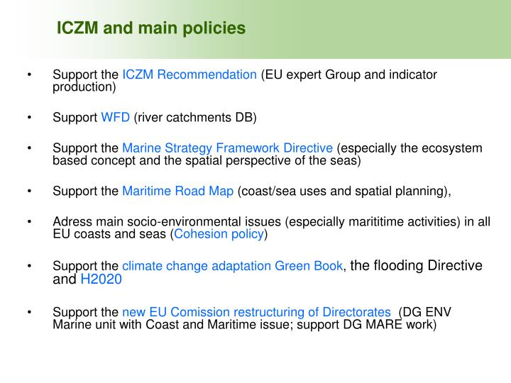 ICZM and main policies
