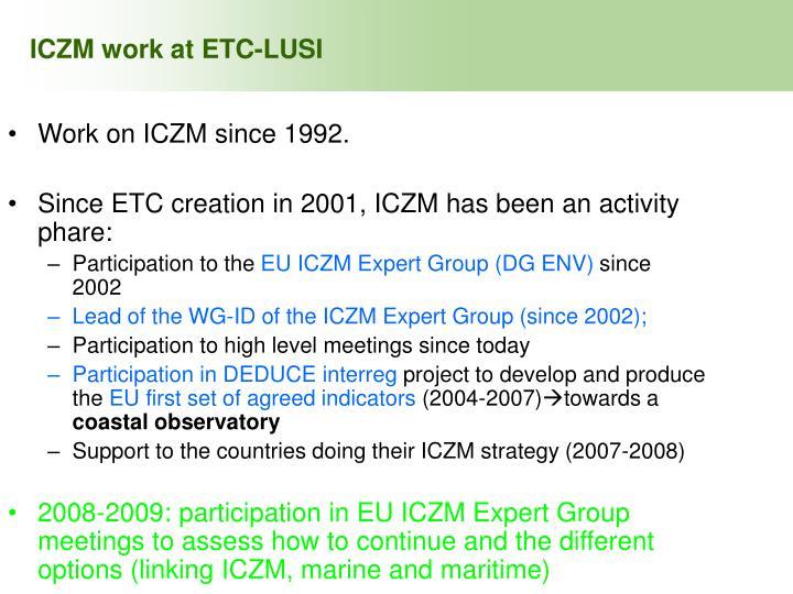 ICZM work at ETC-LUSI