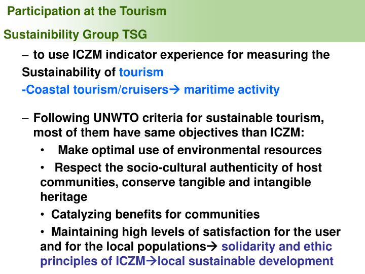 Participation at the Tourism Sustainibility Group TSG