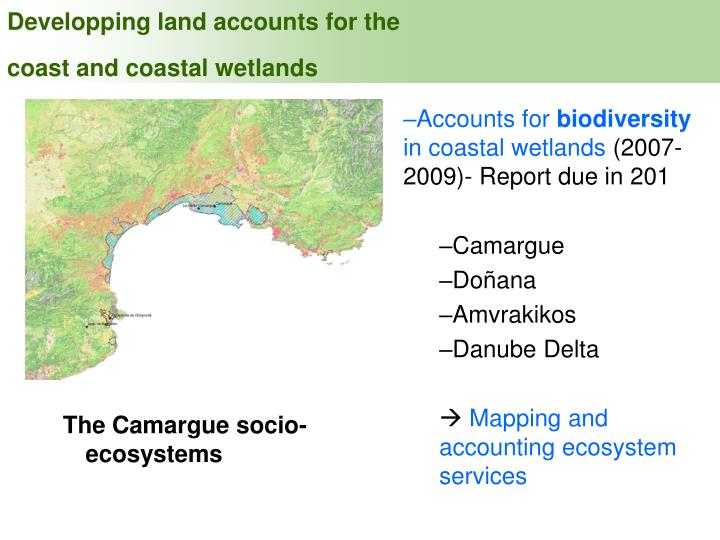Developping land accounts for the coast and coastal wetlands