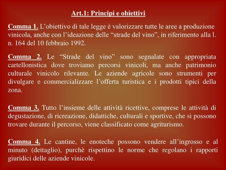 Art.1: Principi e obiettivi