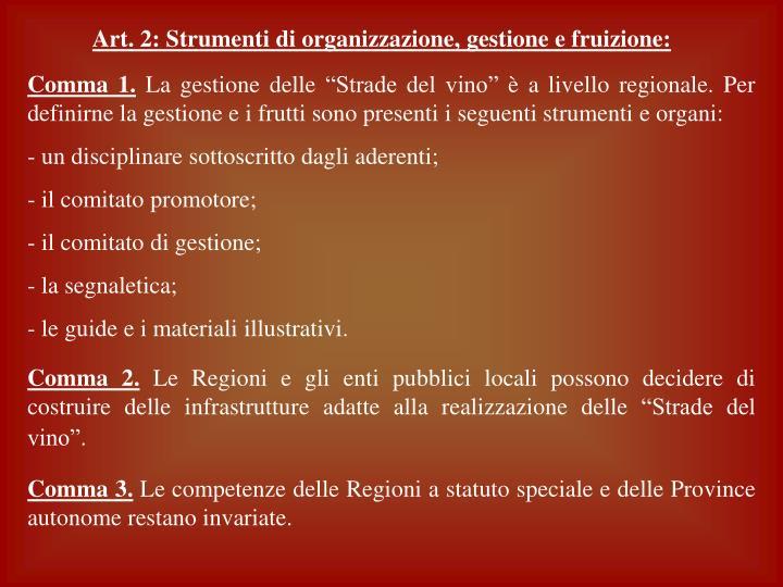Art. 2: Strumenti di organizzazione, gestione e fruizione: