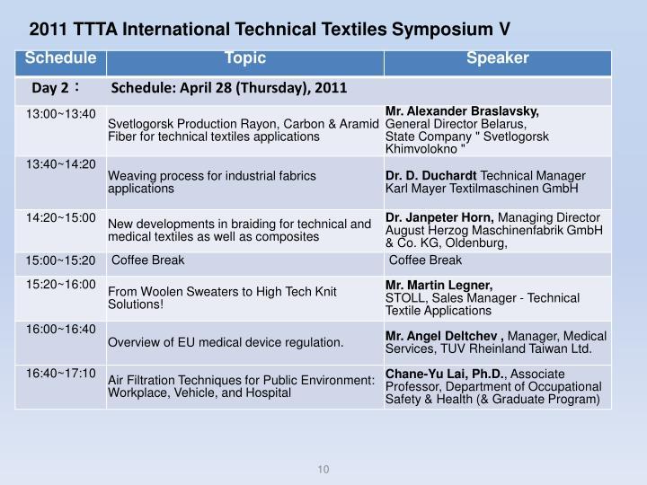 2011 TTTA International Technical Textiles Symposium V
