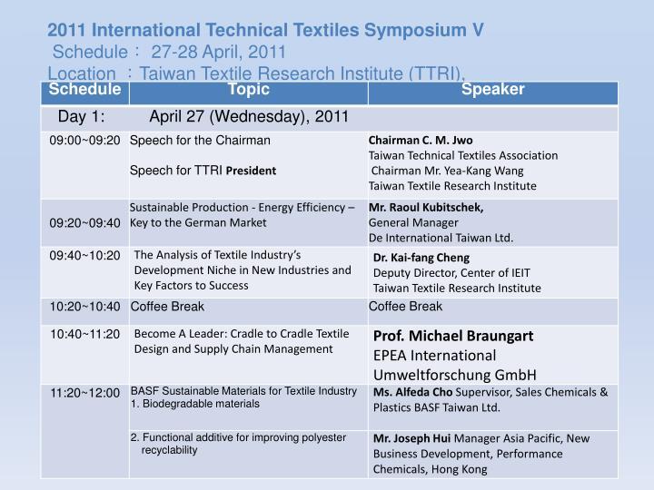 2011 International Technical Textiles Symposium V